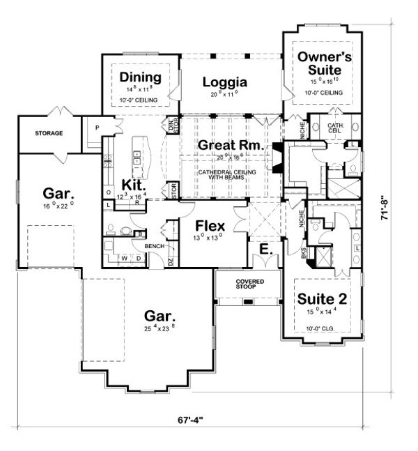 European Floor Plan - Main Floor Plan Plan #20-2067