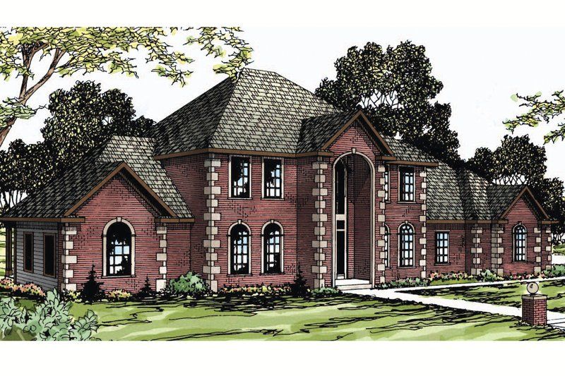 European Exterior - Front Elevation Plan #124-271 - Houseplans.com