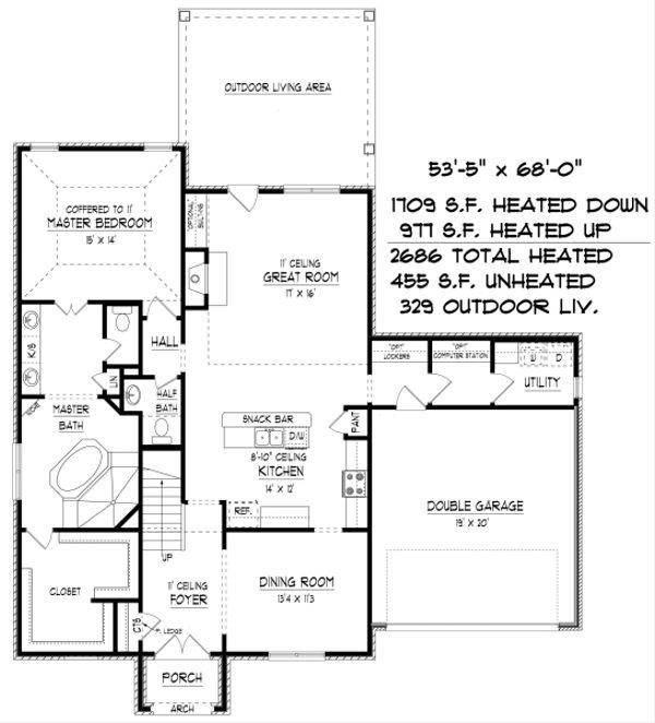 European Floor Plan - Main Floor Plan Plan #424-399