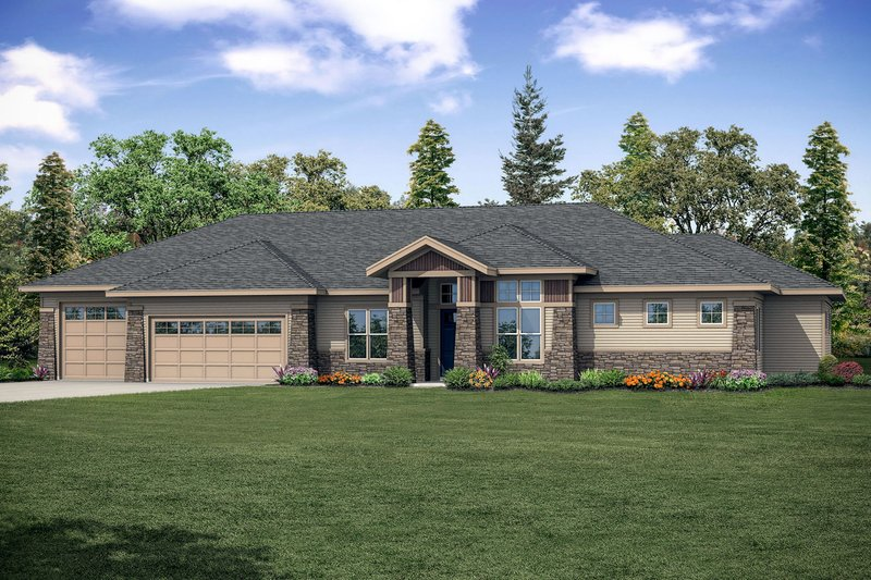 Craftsman Style House Plan - 3 Beds 3 Baths 2678 Sq/Ft Plan #124-1167 Exterior - Front Elevation