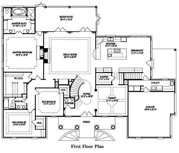 Colonial Style House Plan - 7 Beds 5 Baths 4623 Sq/Ft Plan #325-227 Floor Plan - Main Floor Plan