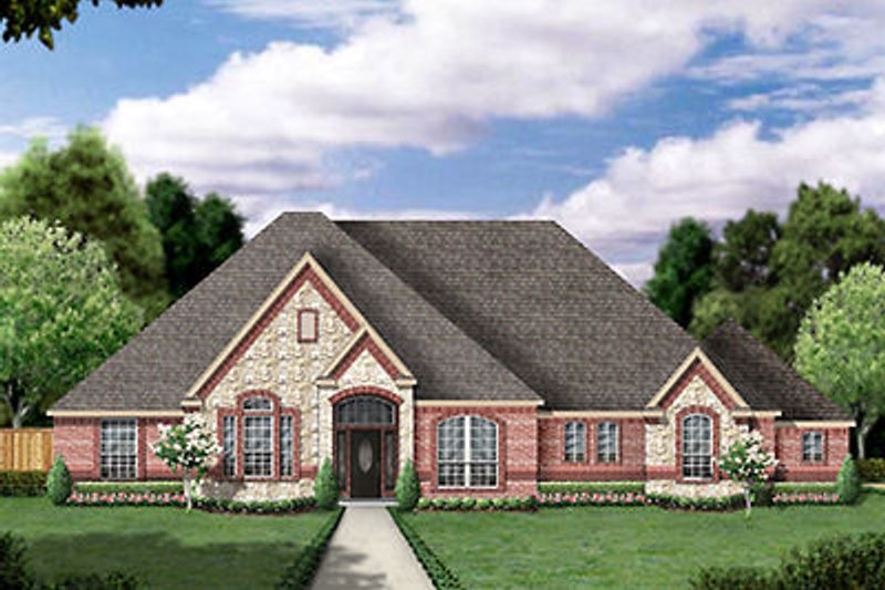 European Style House Plan - 5 Beds 3 Baths 2795 Sq/Ft Plan #84-258 Exterior - Front Elevation