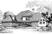 European Style House Plan - 4 Beds 3.5 Baths 2743 Sq/Ft Plan #45-209 Exterior - Rear Elevation