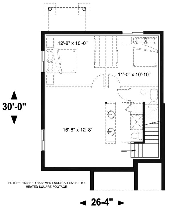 Modern Floor Plan - Lower Floor Plan Plan #23-2705