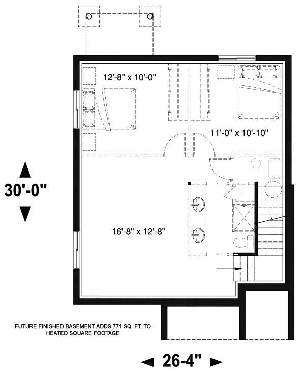 Dream House Plan - Modern Floor Plan - Lower Floor Plan #23-2705