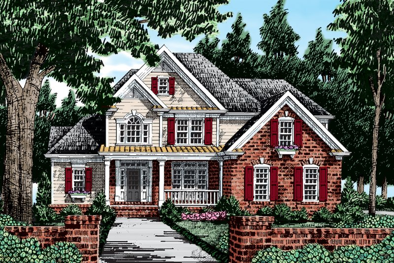 Country Exterior - Front Elevation Plan #927-8 - Houseplans.com