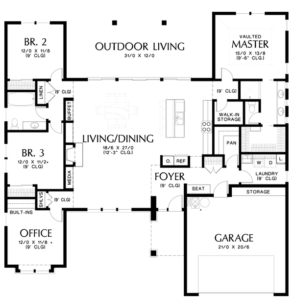 Contemporary Floor Plan - Main Floor Plan Plan #48-1016