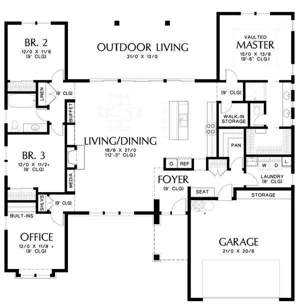 Architectural House Design - Contemporary Floor Plan - Main Floor Plan #48-1016