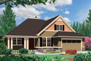 Craftsman Exterior - Front Elevation Plan #48-163
