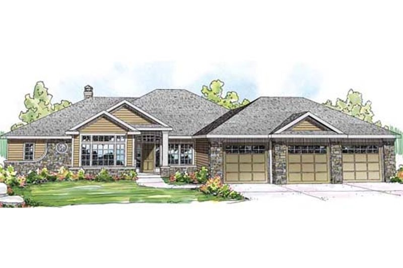 Ranch Exterior - Front Elevation Plan #124-858