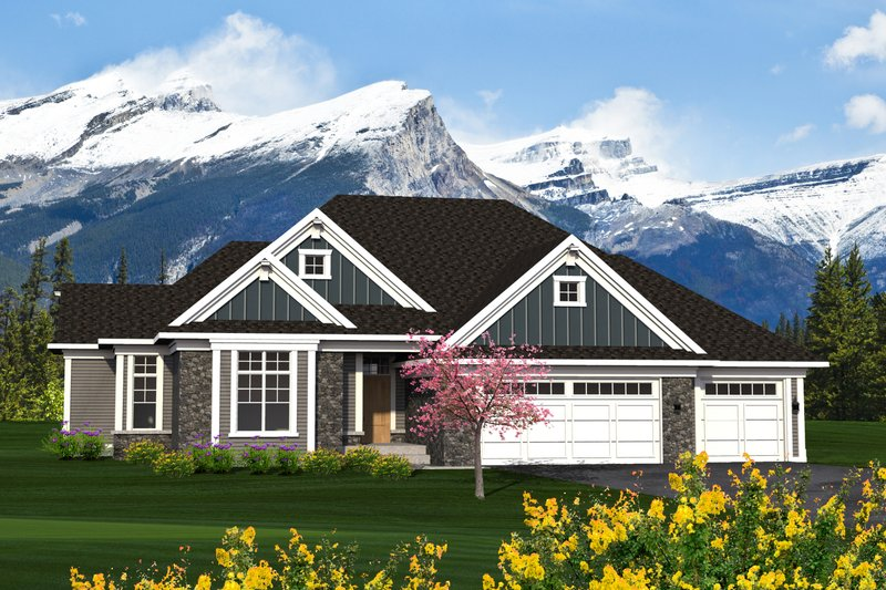 Ranch Exterior - Front Elevation Plan #70-1217