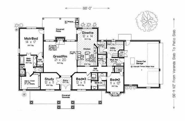 Traditional Floor Plan - Main Floor Plan Plan #310-960
