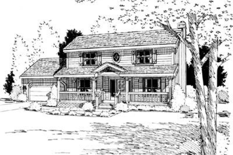 Traditional Exterior - Front Elevation Plan #20-691 - Houseplans.com