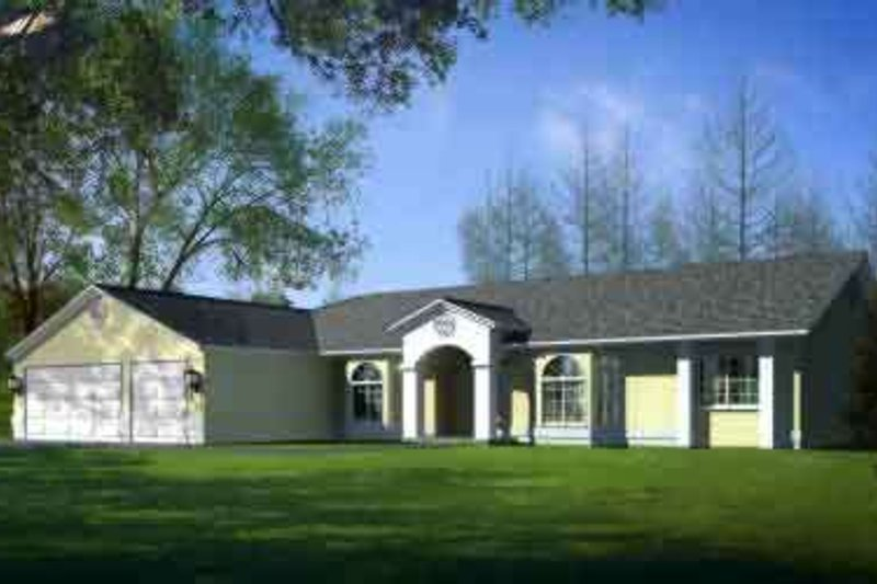 Ranch Style House Plan - 3 Beds 3 Baths 2463 Sq/Ft Plan #1-1461 Exterior - Front Elevation