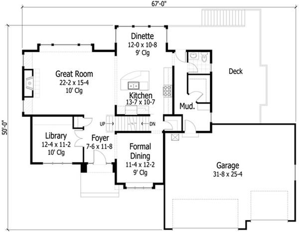 Traditional Floor Plan - Main Floor Plan Plan #51-416