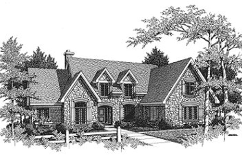 European Style House Plan - 4 Beds 2.5 Baths 2862 Sq/Ft Plan #70-460 Exterior - Front Elevation