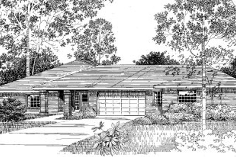 Ranch Style House Plan - 2 Beds 2 Baths 2681 Sq/Ft Plan #303-125 Exterior - Front Elevation