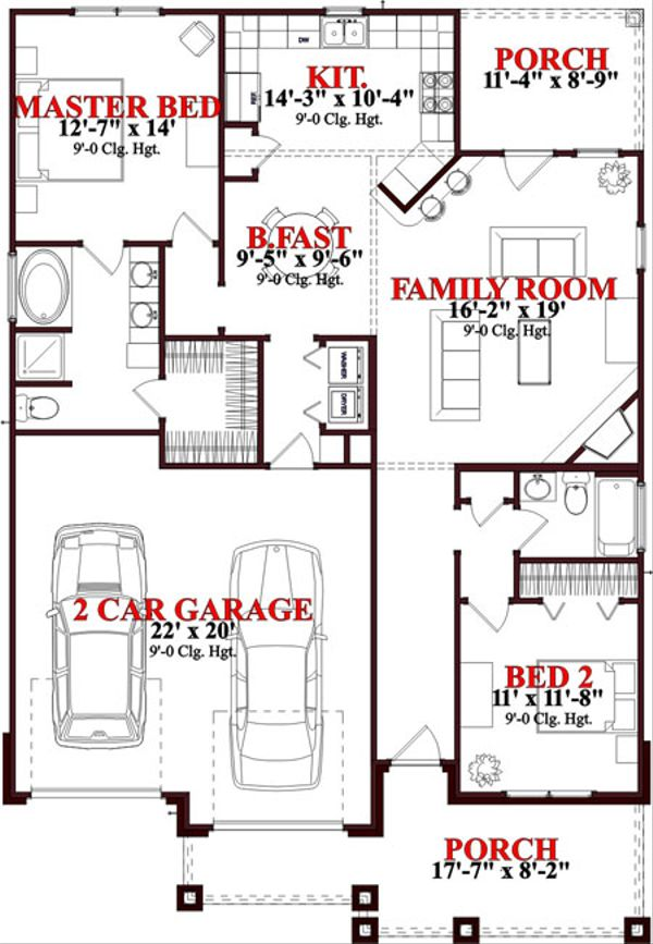 Bungalow Floor Plan - Main Floor Plan Plan #63-235