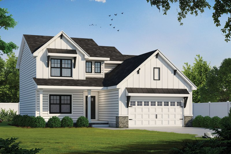 Farmhouse Style House Plan - 3 Beds 3 Baths 2077 Sq/Ft Plan #20-2362 Exterior - Front Elevation