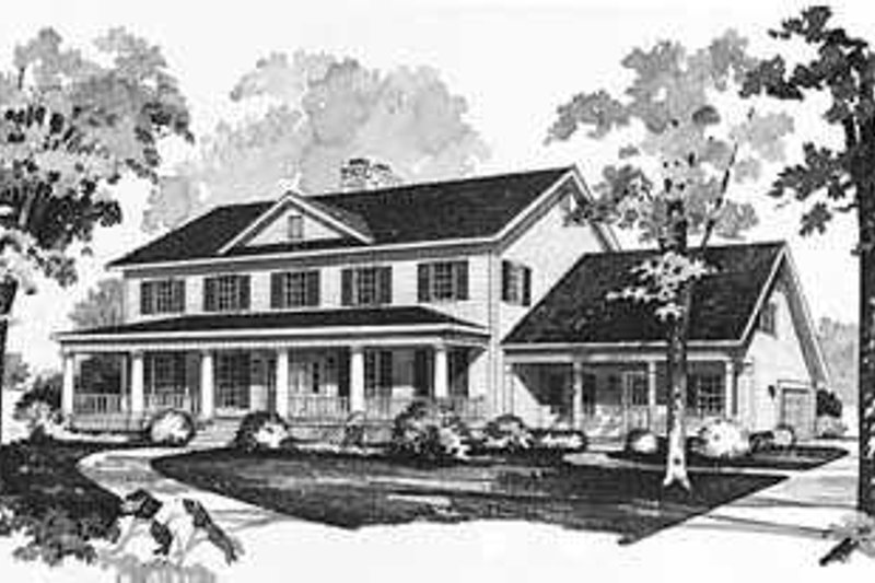 House Blueprint - Southern Exterior - Front Elevation Plan #72-191