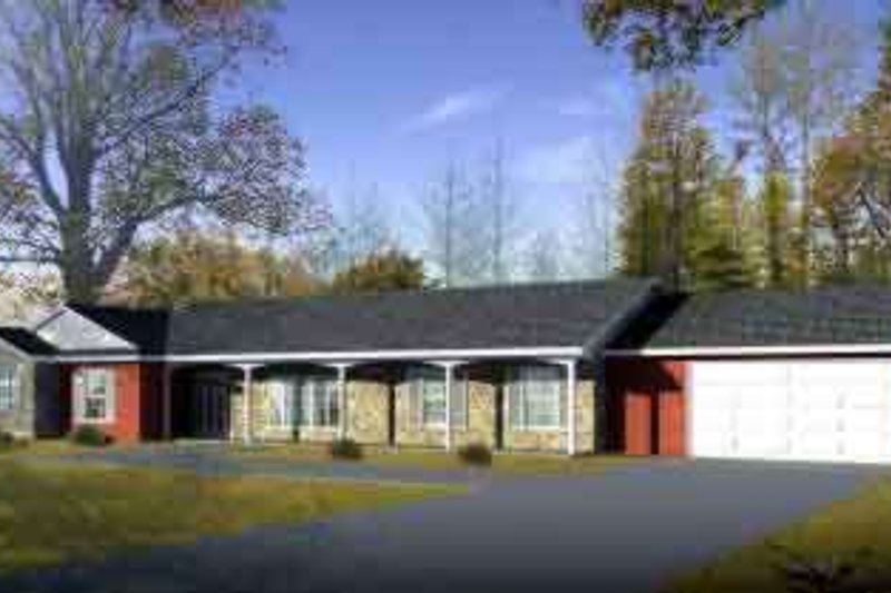Ranch Style House Plan - 3 Beds 2 Baths 2415 Sq/Ft Plan #1-1459 Exterior - Front Elevation