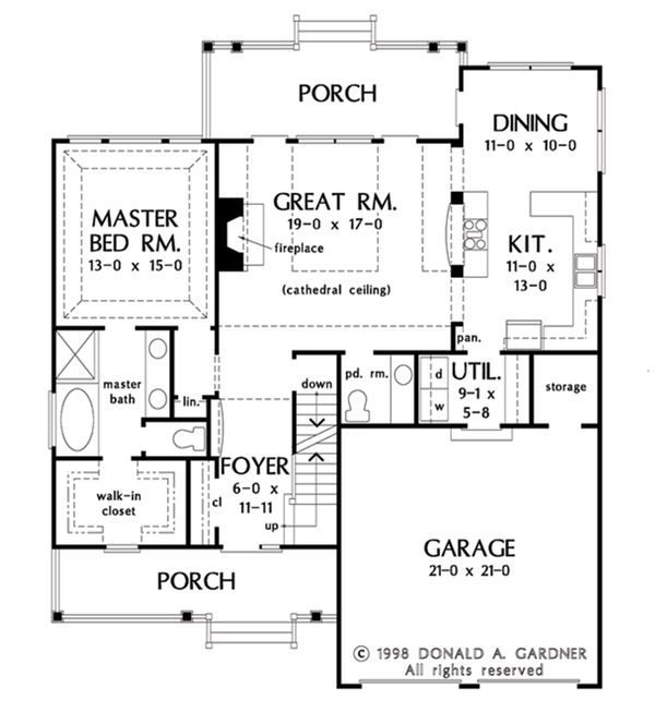 Architectural House Design - Opt. Basement Stair Location