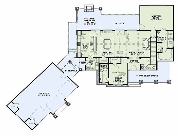 Craftsman Floor Plan - Main Floor Plan Plan #17-2595