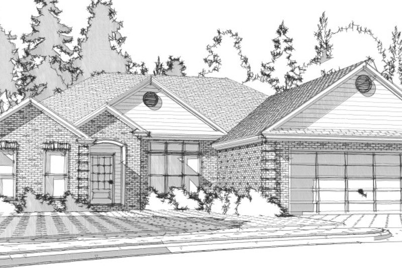 Traditional Style House Plan - 3 Beds 2 Baths 1824 Sq/Ft Plan #63-318 Exterior - Front Elevation