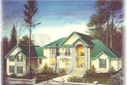 European Style House Plan - 4 Beds 4 Baths 3712 Sq/Ft Plan #15-227 Exterior - Front Elevation
