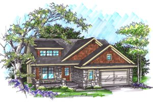 Architectural House Design - Ranch Exterior - Front Elevation Plan #70-1034