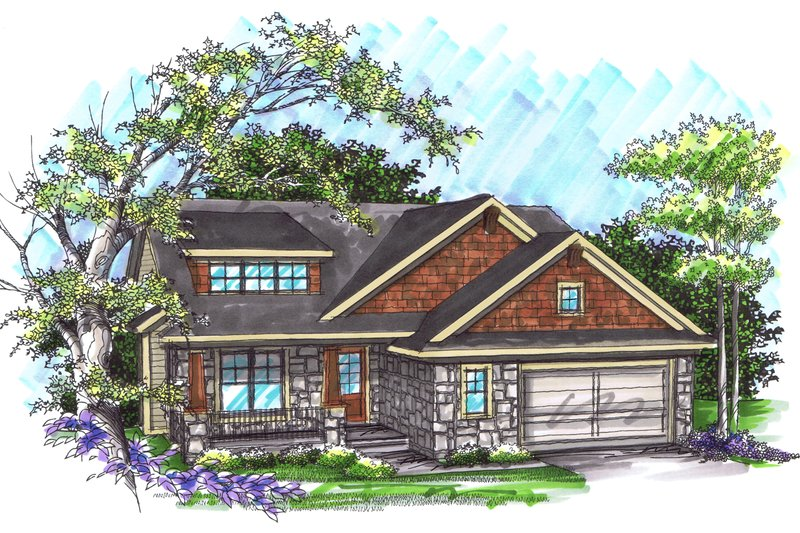 Ranch Exterior - Front Elevation Plan #70-1034