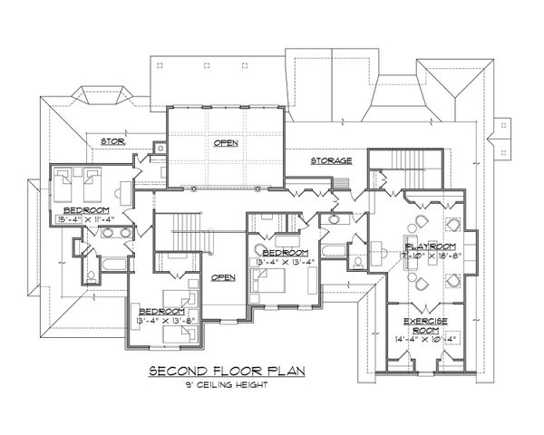Traditional Floor Plan - Upper Floor Plan #1054-83