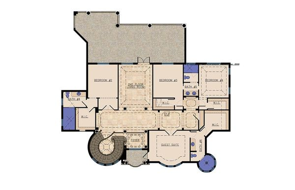 Mediterranean Floor Plan - Upper Floor Plan Plan #548-11