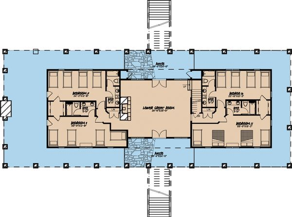 Craftsman Floor Plan - Lower Floor Plan Plan #923-10
