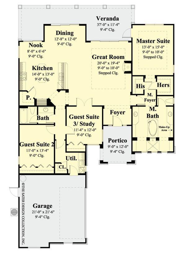 Classical Floor Plan - Main Floor Plan Plan #930-370