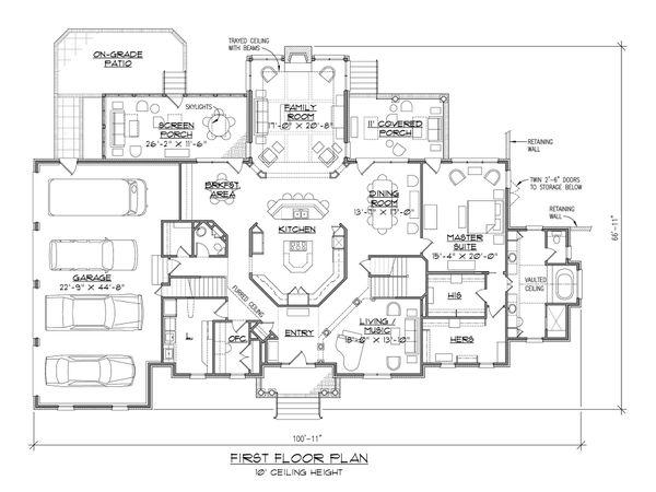 House Plan Design - European Floor Plan - Main Floor Plan #1054-76