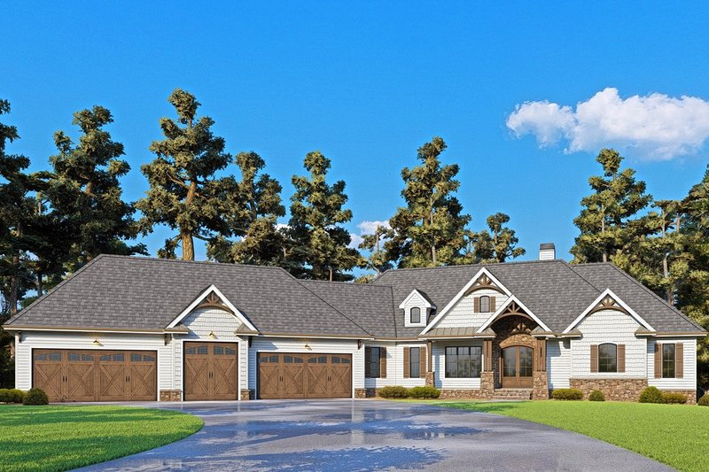 Craftsman Style House Plan - 4 Beds 4 Baths 4140 Sq/Ft Plan #437-116 Exterior - Front Elevation