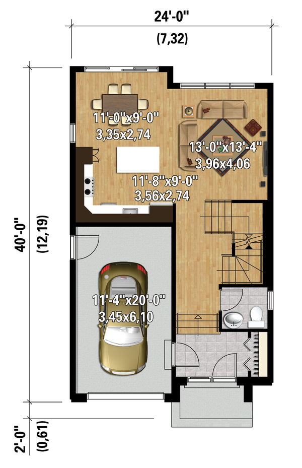 Contemporary Floor Plan - Main Floor Plan Plan #25-4424