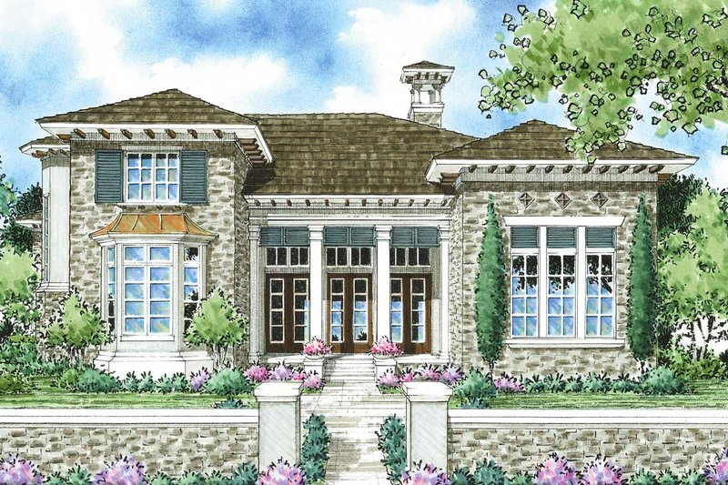 Mediterranean Style House Plan - 3 Beds 2.5 Baths 2732 Sq/Ft Plan #930-280 Exterior - Front Elevation