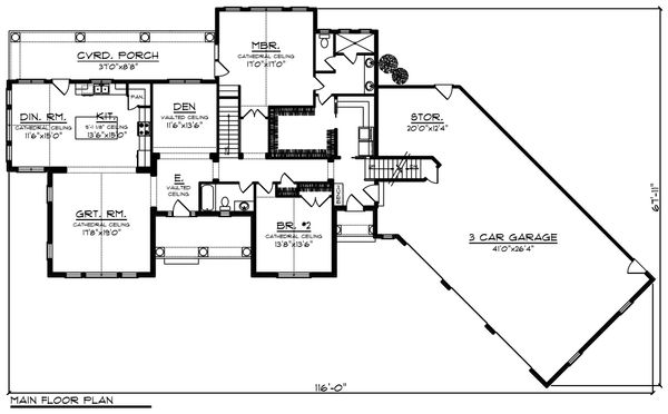 Architectural House Design - Ranch Floor Plan - Main Floor Plan #70-1216