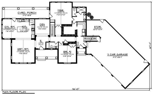 Home Plan - Ranch Floor Plan - Main Floor Plan #70-1216