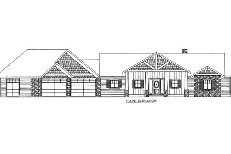 Craftsman Style House Plan - 7 Beds 4.5 Baths 6032 Sq/Ft Plan #117-709 Exterior - Front Elevation