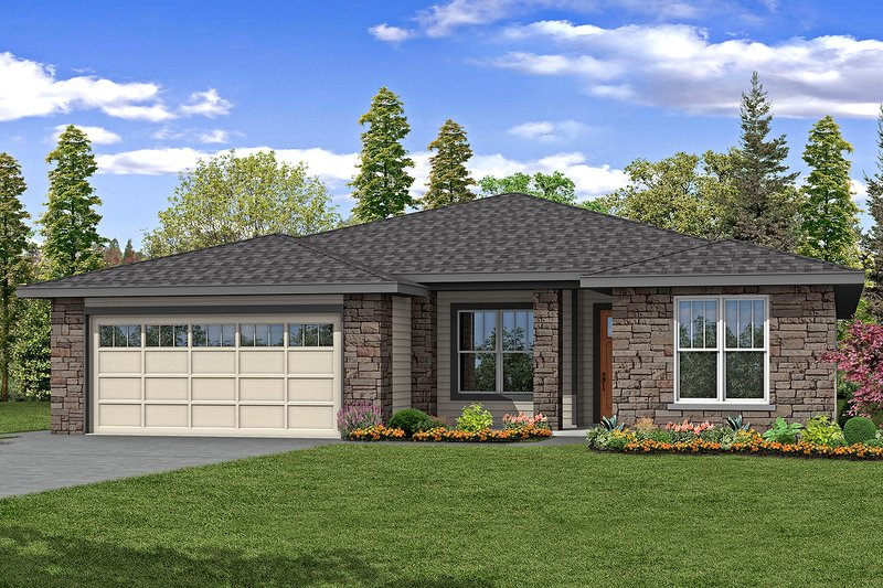Ranch Exterior - Front Elevation Plan #124-1189