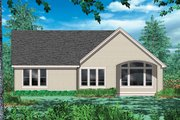 Cottage Style House Plan - 3 Beds 2.5 Baths 1580 Sq/Ft Plan #48-102 Exterior - Rear Elevation