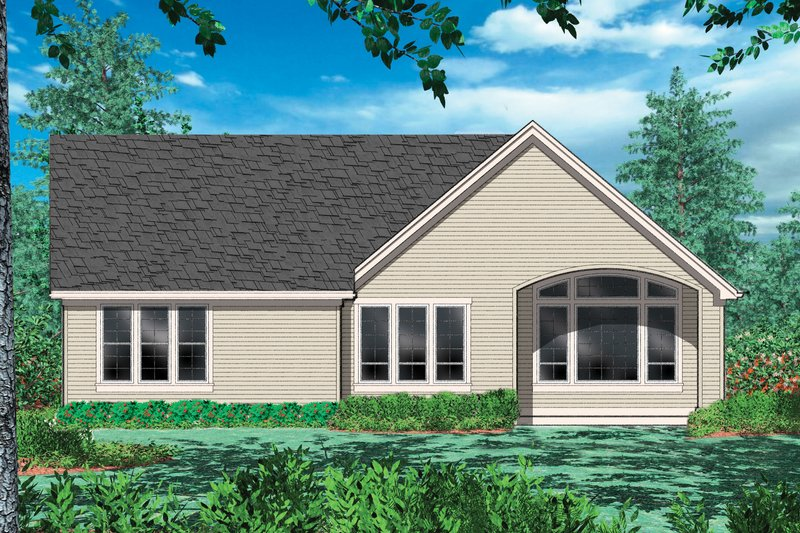 Cottage Exterior - Rear Elevation Plan #48-102 - Houseplans.com