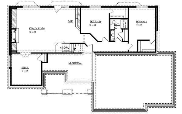 Craftsman Floor Plan - Lower Floor Plan #320-497