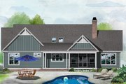 Ranch Style House Plan - 3 Beds 2 Baths 1754 Sq/Ft Plan #929-1085 Exterior - Rear Elevation