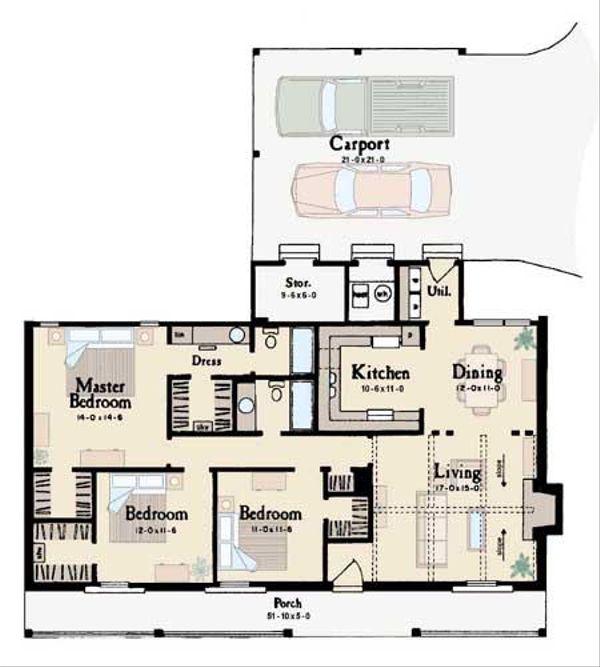 Ranch Floor Plan - Main Floor Plan Plan #36-107