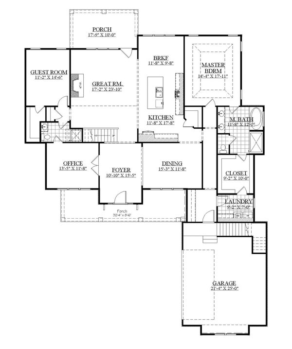 Farmhouse Floor Plan - Main Floor Plan Plan #1071-8