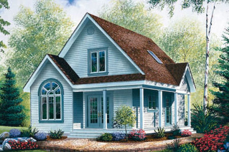 Cottage Style House Plan - 2 Beds 2 Baths 1168 Sq/Ft Plan #23-488 Exterior - Front Elevation